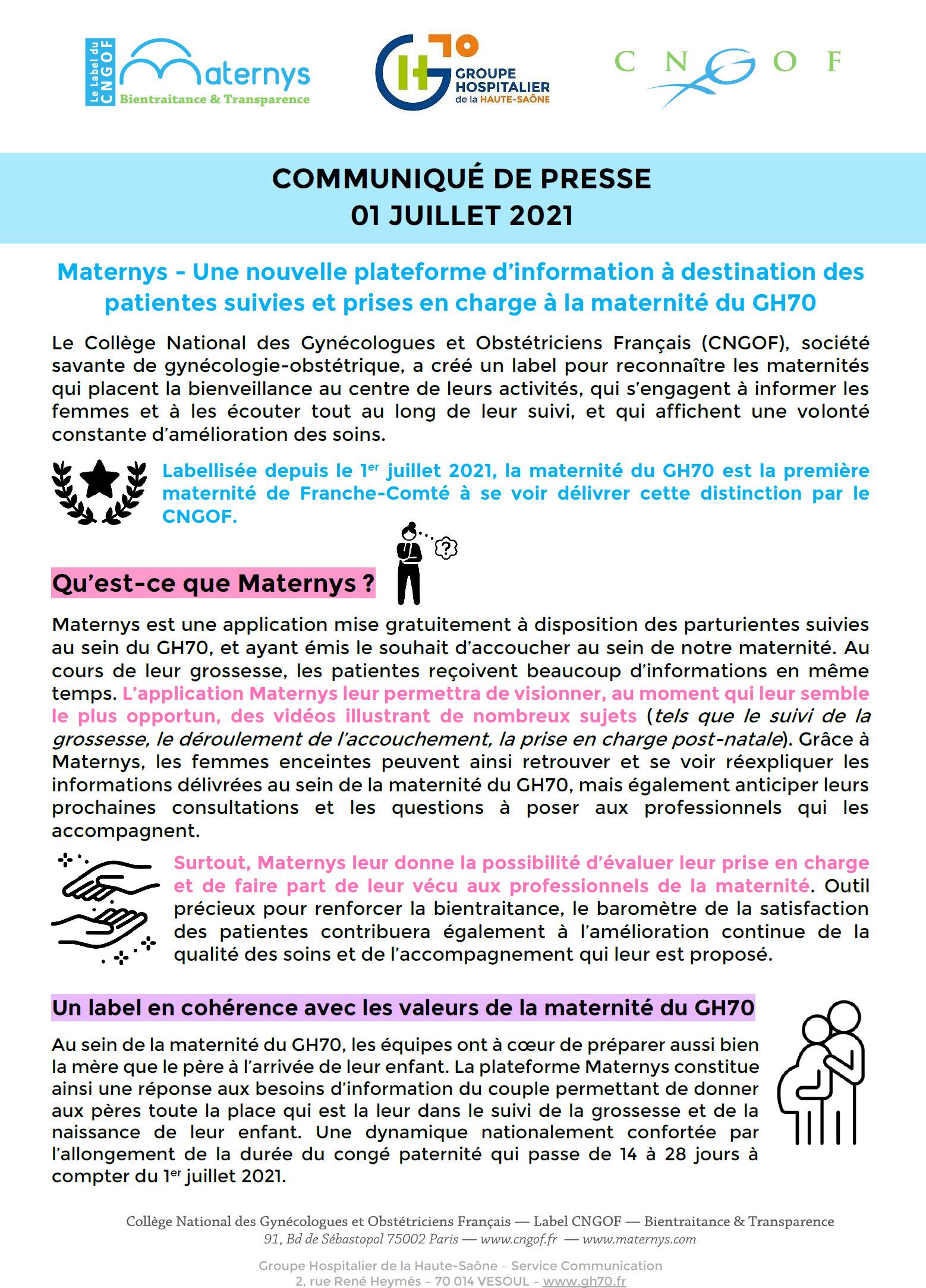 Maternys : une nouvelle plateforme d'information à destination des patientes suivies et prises en charge à la maternité du GH70