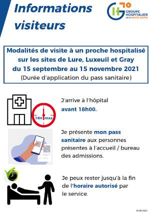 Modalités de visite à un proche hospitalisé sur les sites de Lure, Luxeuil et Gray du 15 septembre au 15 novembre 2021